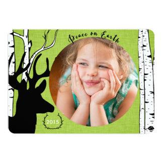 Birch Forest Deer Green Linen Holiday Photo Card