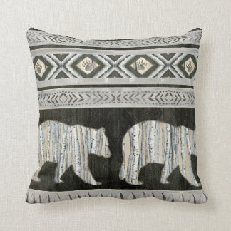 Birch Forest Sophisticated Lodge Bear Paw Pattern Throw Pillow