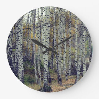 Birch Forrest Autumn Photo Round  Wall Clock