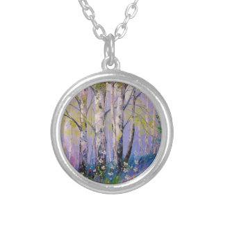 Birch grove silver plated necklace