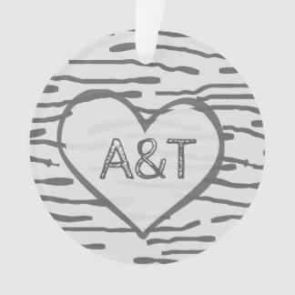 birch heart ornament