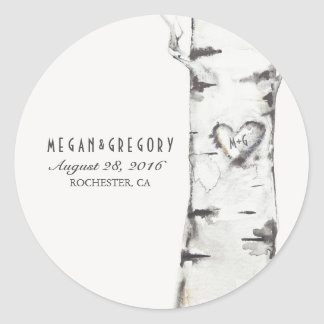 Birch Heart Rustic Wedding Round Sticker