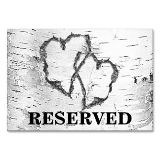 Birch Hearts Reserved Wedding Table Sign Table Card