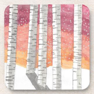 Birch In The Snow Drink Coaster