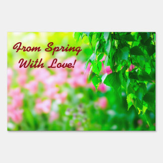 Birch leaves tulip flowers customizable sign