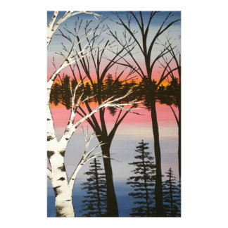 Birch Sunset Custom Stationery