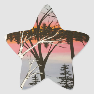 Birch Sunset Star Sticker