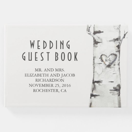 Birch Tree and Carved Heart Rustic Watercolor Guest Book
