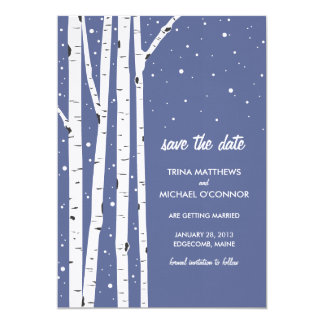 """Birch Tree and Snow Save the Date 5"""" X 7"""" Invitation Card"""