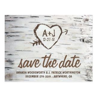 Birch Tree Bark Rustic Wedding Save the Date Cards