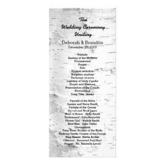 Birch Tree Black and White Tall Wedding Program Full Colour Rack Card