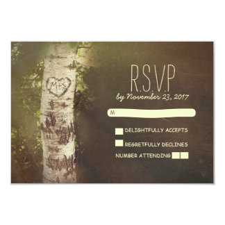 Birch tree country rustic wedding RSVP cards