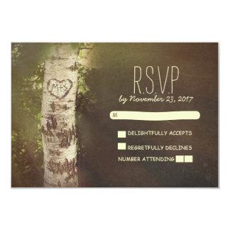"Birch tree country rustic wedding RSVP cards 3.5"" X 5"" Invitation Card"