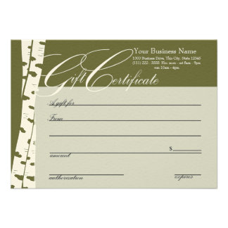 Birch Tree Gift Certificates Personalized Announcement