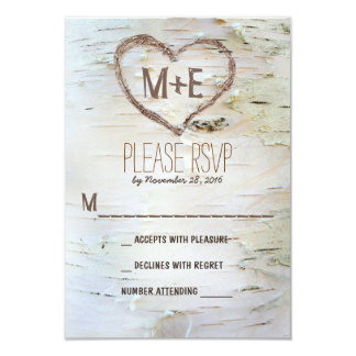 "Birch tree heart initials rustic wedding RSVP card 3.5"" X 5"" Invitation Card"