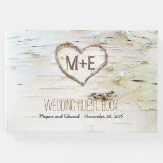 Birch Tree Heart Rustic Country Guest Book