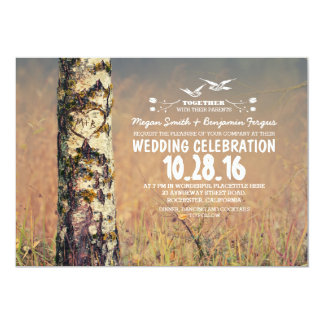 birch tree & heart rustic wedding invites