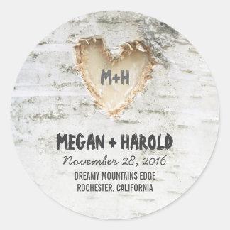 Birch Tree Heart Rustic Wedding Round Sticker