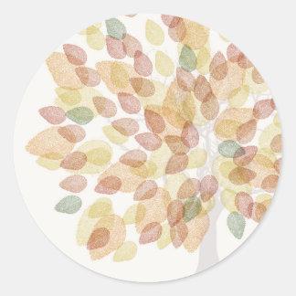 Birch Tree in Fall Colors Classic Round Sticker