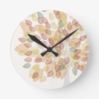 Birch Tree in Fall Colors Round Clock