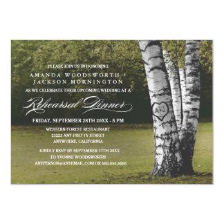 Birch Tree Initials Rehearsal Dinner Invitations