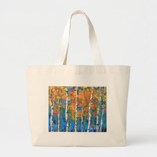 Birch Tree Painting, Blue Birch, Fall textured Art Large Tote Bag