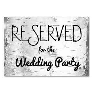 Birch Tree Reserved Wedding Sign Table Cards