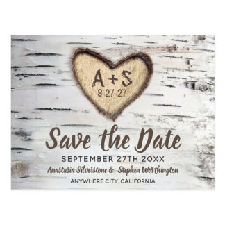 Birch Tree Rustic Country Wedding Save the Date Postcard