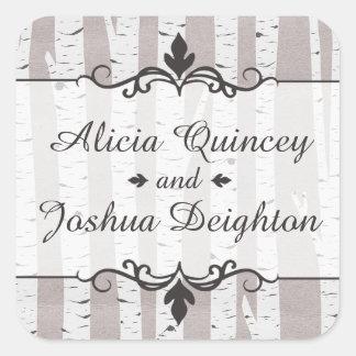 Birch Tree Rustic Nature Wedding Personalized Square Sticker