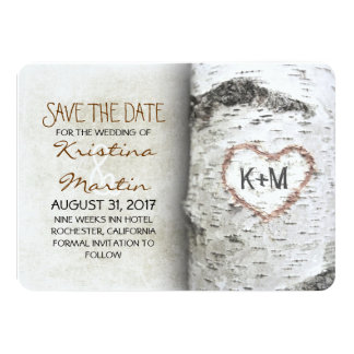 "Birch Tree Rustic Save The Date Cards 4.5"" X 6.25"" Invitation Card"