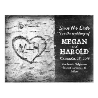 birch tree rustic save the date postcards