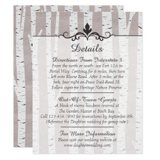 Birch Tree Rustic Wedding Details / Directions Card