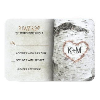 "Birch Tree Rustic Wedding RSVP Cards 3.5"" X 5"" Invitation Card"