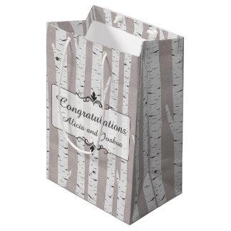 Birch Tree Rustic Wood Nature Wedding Personalized Medium Gift Bag