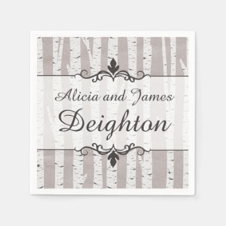Birch Tree Rustic Wood Nature Wedding Personalized Paper Napkin