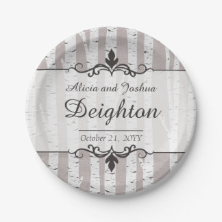 Birch Tree Rustic Wood Nature Wedding Personalized Paper Plate