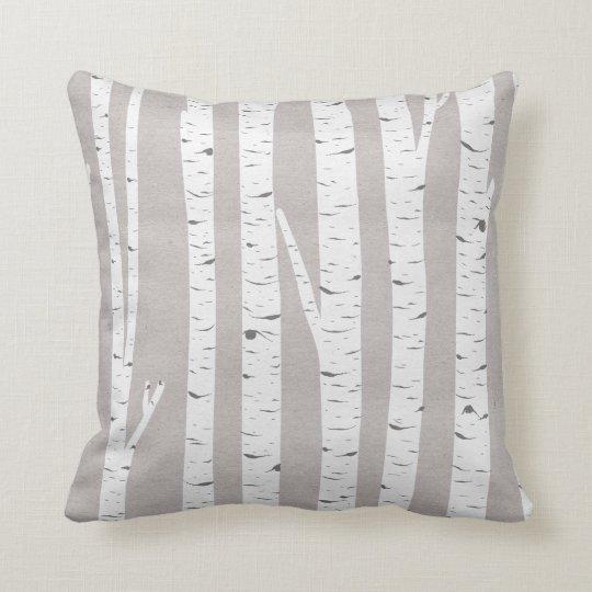 Birch Tree Rustic Woodland Throw Pillow