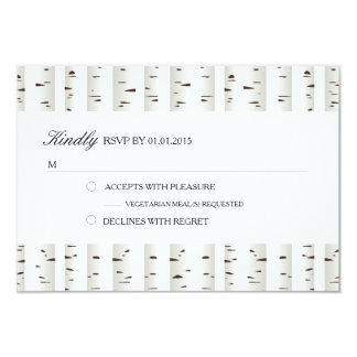 "Birch Tree Wedding RSVP 3.5"" X 5"" Invitation Card"