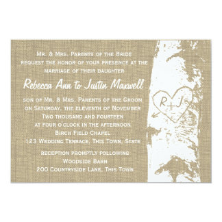"Birch Tree with Carved Heart and Initials 5"" X 7"" Invitation Card"