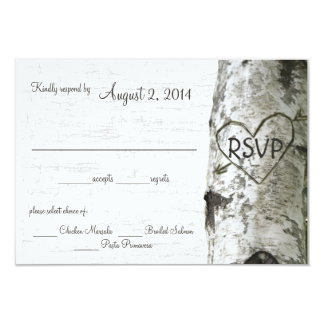 "Birch Tree with Carved Heart RSVP 3.5"" X 5"" Invitation Card"