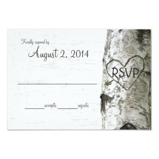 Birch Tree with Carved Heart RSVP Card
