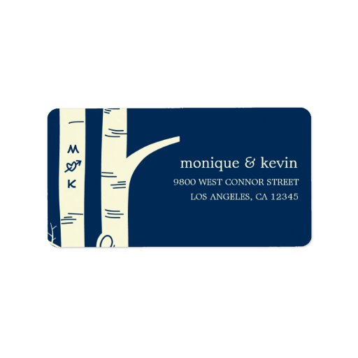 Birch Trees Address Label - Navy Custom Address Labels