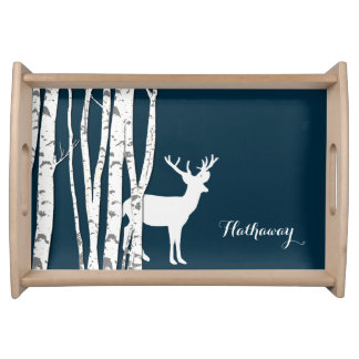 Birch Trees and Deer Serving Tray