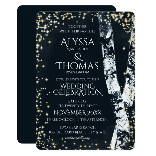Birch Trees and Sparkle Wedding Card