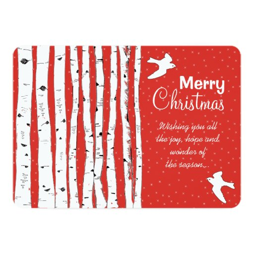 "Birch Trees & Birds Merry Christmas 5"" X 7"" Invitation Card"