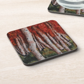 Birch Trees in Autumn by Fine Artist Alison Galvan Coasters