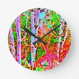 Birch Trees in Springtime Round Clock