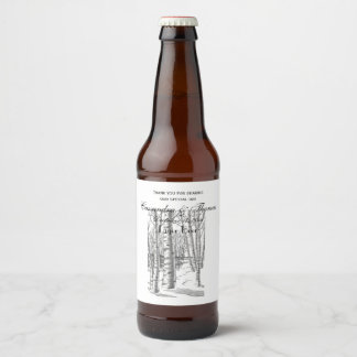 Birch Trees In Winter Christmas Xmas Beer Bottle Label