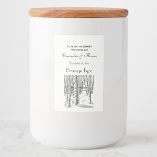 Birch Trees In Winter Christmas Xmas Food Label
