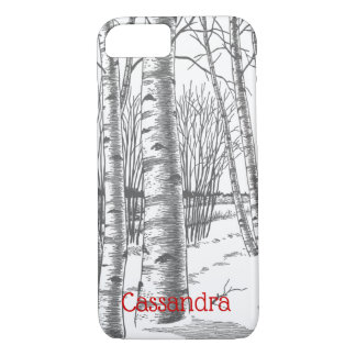Birch Trees In Winter Christmas Xmas iPhone 8/7 Case